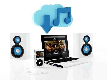 downloading content: Group of electronics devices connected to music cloud server - 3D render