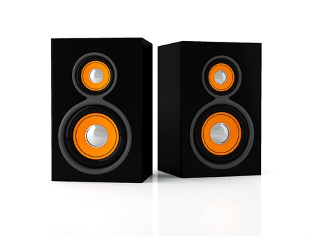 sub woofer: Stereo loudspeakers isolated on white background - 3D Render