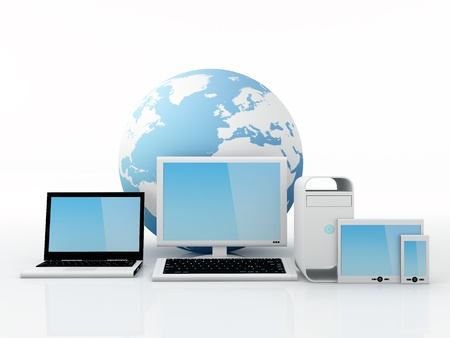 mobile voip: Computer Equipment isolated on white background - 3D Render