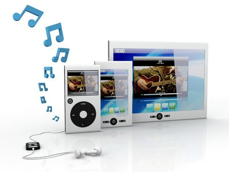 media player: Media mobile equipment isolated on white background - 3D RenderNote: All Devices design and all screen interface graphics in this series are designed by the contributor him self.