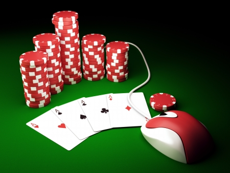 Gambling chips and poker cards on green carpet with computer mouse - 3D render photo
