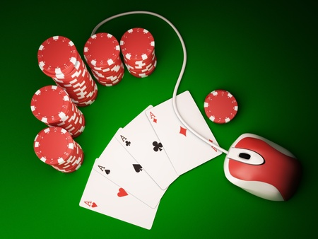 Gambling chips and poker cards on green carpet with computer mouse - 3D render