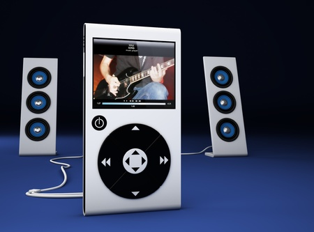 contributor: MP3 player and speakers - 3d Render  Note: All Devices design and all screen interface graphics are designed by the contributor him self. Stock Photo