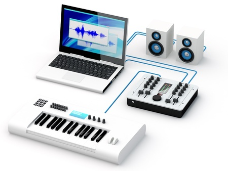Group of recording and composing electro-music instrumets - 3D Render  Note: All Devices design and all screen interface graphics in this picture are designed by the contributor him self.