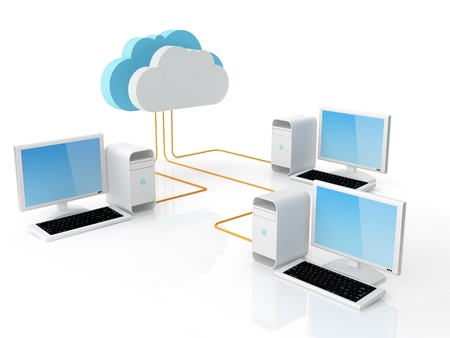 Desktop pc collegato al cloud server Archivio Fotografico
