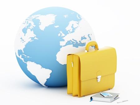 courtoisie: Globe terrestre avec un sac d'affaires, agenda et t�l�phone mobile - Rendu 3D. Cartes de courtoisie: la NASA et CIA World Databank II