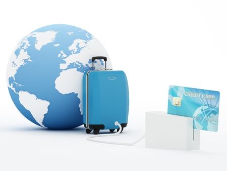 databank: Isolated suitcase and globe with blue credit card - 3D Render  Note: All Devices design and screen interface graphics of this picture are designed by the contributor him self.  Maps courtesy: NASA and CIA World Databank II Stock Photo