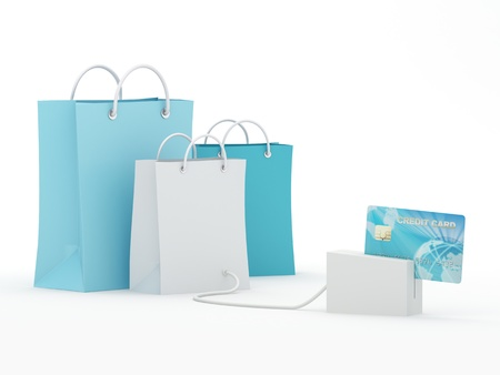 Isolated shopping bags with blue credit card - 3D Render  Note: All Devices design and screen interface graphics of this picture are designed by the contributor him self. photo