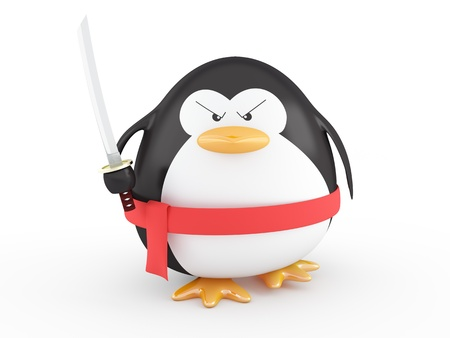 cartoon penguin: Fat ninja penguin with katana ready to attack