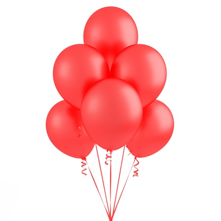 Red flying balloons - 3D Render