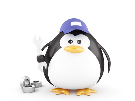 3D mechanic penguin with tools Imagens