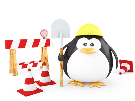 Fat Worker Penguin with tools- 3D Render photo