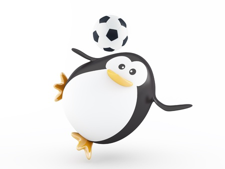 Fat soccer player penguin - 3D render
