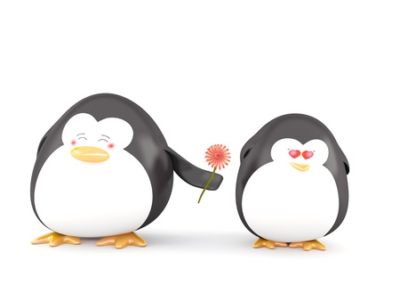 fall in love: Penguins in Love, Isolated on White - 3D render