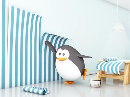 attaching: Fat penguin attaching wallpaper - 3D render