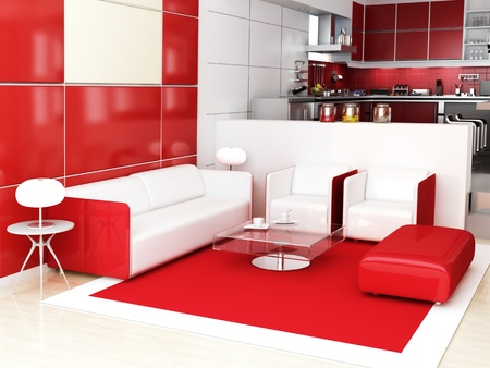 Modern interior (3D render) - Living room Stock Photo