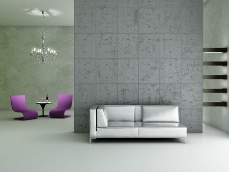 modern sofa: Modern interior (3D render) - Living room Stock Photo