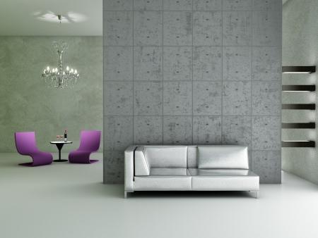 minimalist apartment: Modern interior (3D render) - Living room Stock Photo