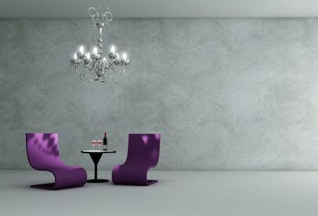 Wohnzimmer Innenraum - 3D render Standard-Bild - 12343885