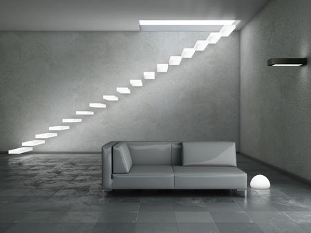 Modern interior (3D render) - Living room photo