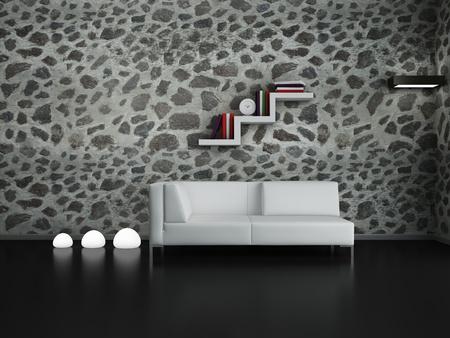 Modern interior (3D render) - Living room Imagens