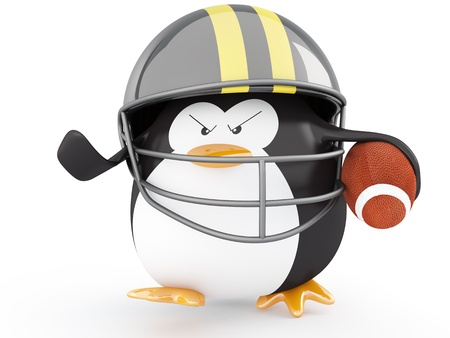 bowl game: Fat american football player penguin  - 3D render