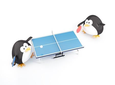 pingpong: Grasa de ping pong jugadores pingüinos - 3D render Foto de archivo