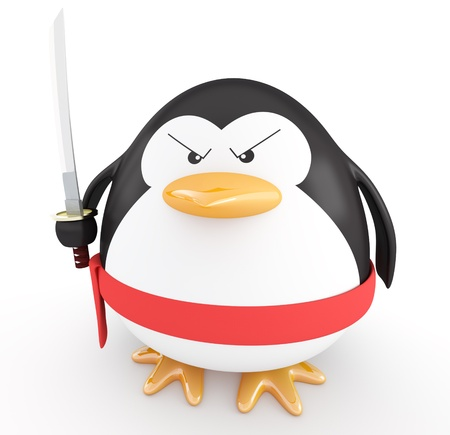 animal fight: Fat ninja penguin with katana ready to attack