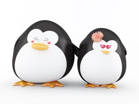 lovely couple: Penguins in Love, Isolated on White - 3D render