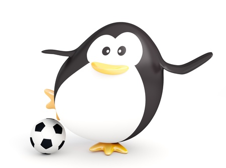 soccer kick: Fat soccer player penguin  - 3D render Stock Photo