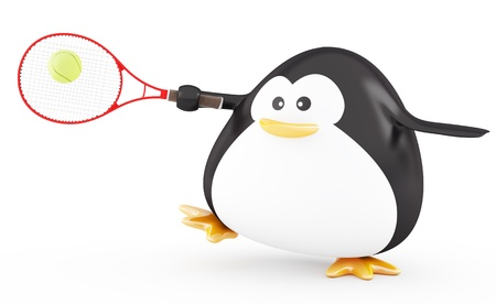 Fat tennis player penguin  - 3D render photo