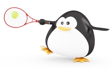 fat bird: Fat tennis player penguin  - 3D render