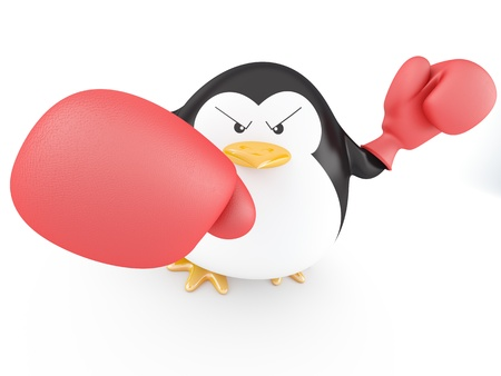 Fat boxer penguin  with gloves- 3D render Imagens