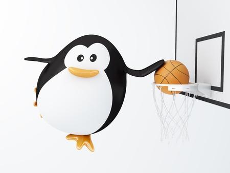 Fat basket player penguin - 3D render photo