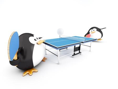 pingpong: Grasa de pingüinos jugadores, 3D render Foto de archivo