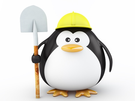 Fat Worker Penguin with tool- 3D Render