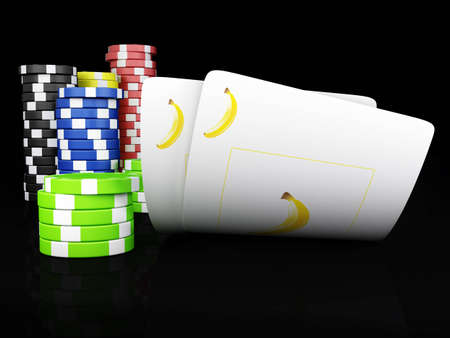 wager: Fruits poker - Stack of chips and two aces