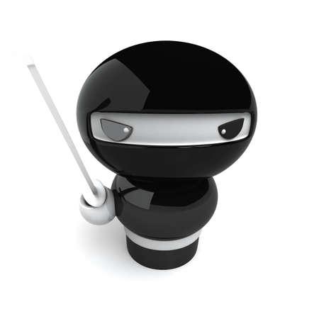 character assassination: 3D Japanese ninja with katana ready to attack Stock Photo