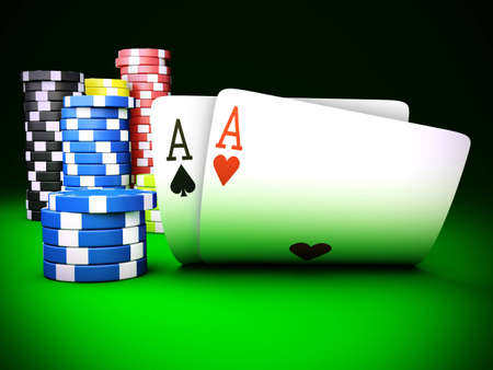 Stack of chips and two aces - 3D render photo