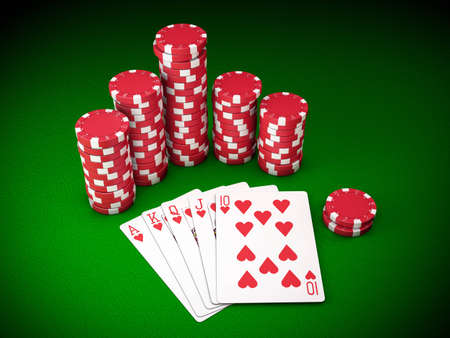 Gambling chips and poker cards on green carpet - 3D render photo