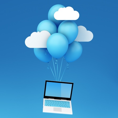 Cloud computing concept - Laptop with flying baloons