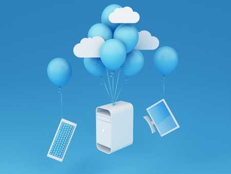 contributor: Cloud computing concept - Desktop with flying baloonsNote  All Devices design and all screen interface graphics in this series are designed by the contributor him self