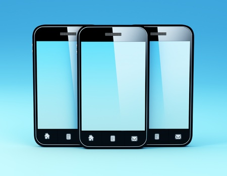 using voice: 3D Illustration of generic smartphone Note  All Devices design and all screen interface graphics in this series are designed by the contributor him self  Stock Photo