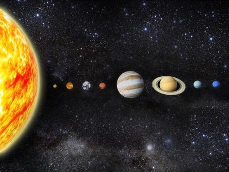 Illustration unseres Sonnensystems - 3D Render Maps von http planetpixelemporium com Standard-Bild - 13045898