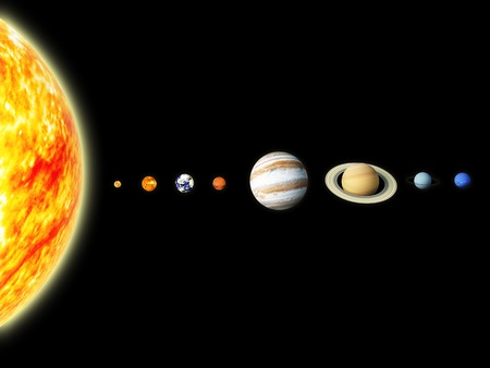 Illustration of our solar system  - 3D REnder Maps from http   planetpixelemporium com