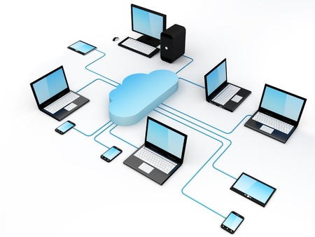Home Electronic Devices connected to cloud server. Stock Photo - 13133721