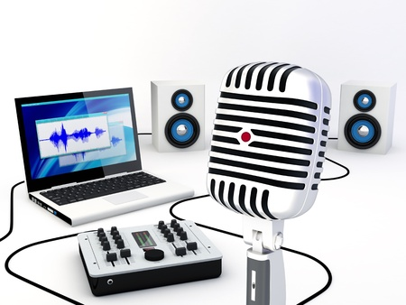 composing: Group of recording and composing music instrumets - 3D Render