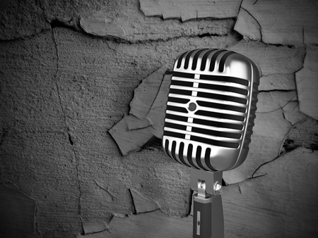 vintage microphone on dirty background - 3D illustration Stock Illustration - 13225274