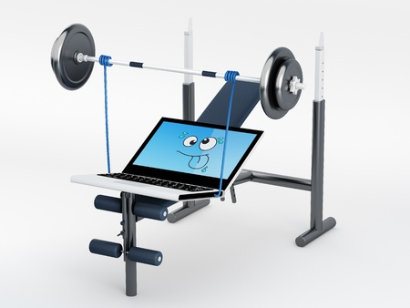 elettronic: powerful muscular laptop lifting weights - 3D render Note: All Devices design and all screen interface graphics in this series are designed by the contributor him self.