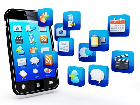 Smartphone with cloud of application icons  Note: All Devices design and all screen interface graphics in this series are designed by the contributor him self. Stock Photo